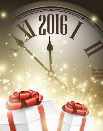 chiming: 2016 New Year background with clock and gifts
