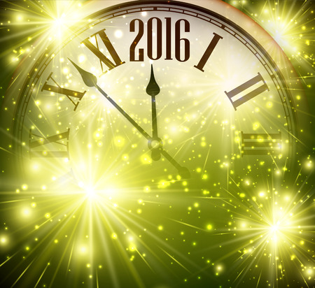 happy client: 2016 New Year shining background with clock Illustration