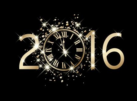 reloj: 2016 Tarjeta de A�o Nuevo con el reloj. Vector de papel ilustraci�n.