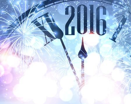 fondos azules: 2016 A�o Nuevo fondo brillante con el reloj