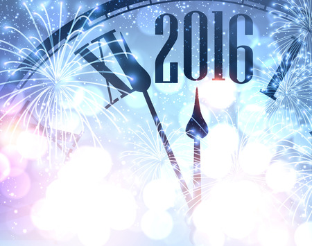 blue and white: 2016 New Year shining background with clock Illustration