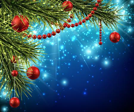 クリスマスの背景にモミの枝、ボール  イラスト・ベクター素材