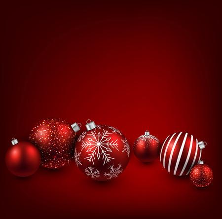 Sfondo rosso di Natale con palline