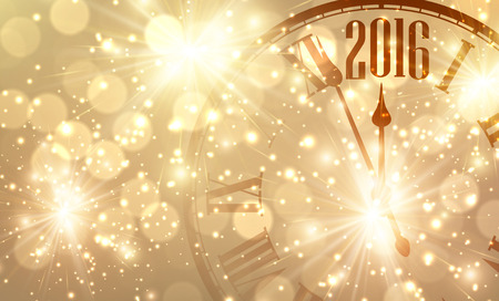 happy new year: 2016 New Year shining background with clock Illustration