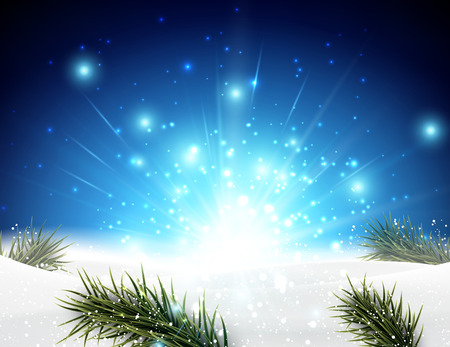 Winter-Hintergrund mit Tannenzweigen. Vektor-Illustration. Standard-Bild - 46645273