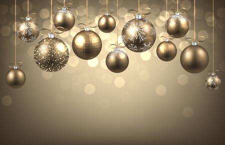 New Year achtergrond met ballen. Vector papier illustratie.