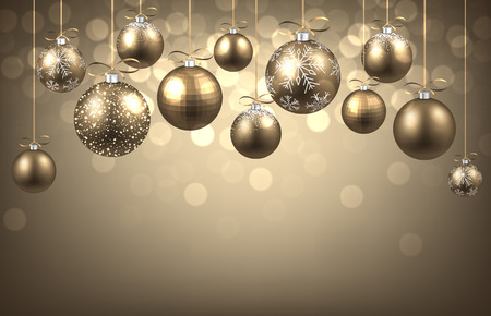 New Year background with balls. Vector paper illustration. Illustration