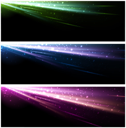 northern lights: Abstract black background set with colour pattern. Vector illustration. Illustration