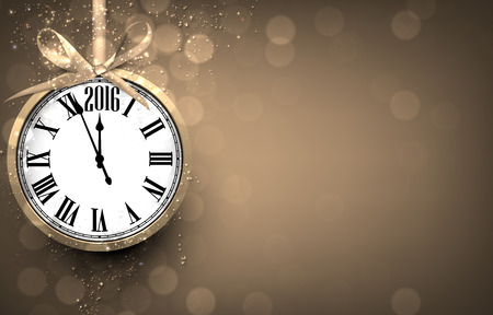 new year greetings: 2016 New year golden background with vintage clock. Vector illustration with place for text.