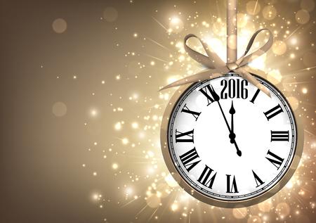 2016 Neues Jahr Sepia Hintergrund mit Uhr. Vektor-Papier-Illustration.