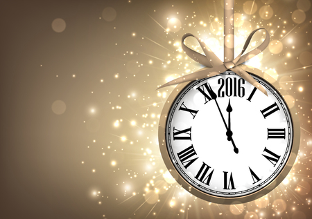 new year background: 2016 New Year sepia background with clock. Vector paper illustration. Illustration