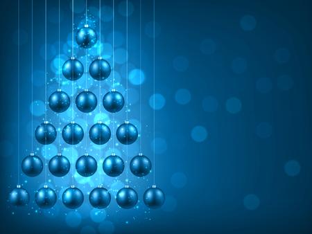 Navidad fondo azul con bolas. Ilustración del vector.