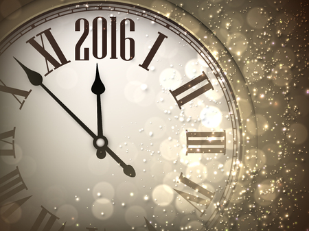 clock: 2016 New Year sepia background with clock. Vector paper illustration. Illustration