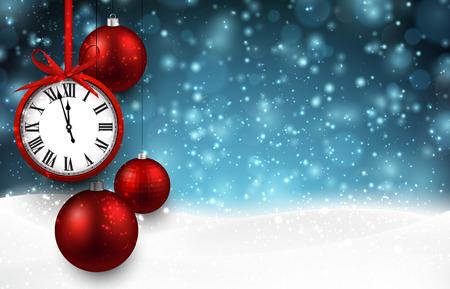 Fondo de año nuevo con bolas de navidad de color rojo y un reloj de época. Ilustración del vector con el lugar de texto.