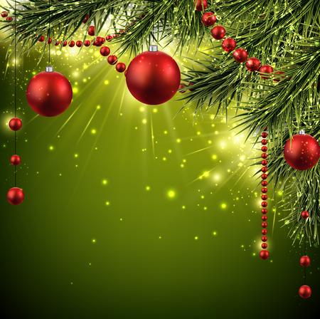 ast: Weihnachten Hintergrund mit Tannenzweigen und Kugeln. Vektor-Illustration. Illustration