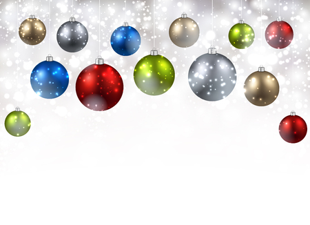 argent: New Year background with colourful balls. Vector illustration.