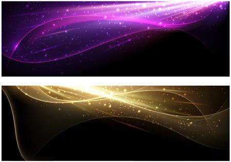 vague: Abstrait arrière-plan mis avec des vagues de couleurs tendance. Vector illustration.