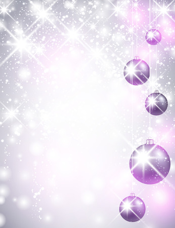 christmas baubles: Christmas shining background with balls. Vector Illustration.