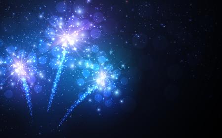 Festive blue firework background. Vector illustration. Illusztráció