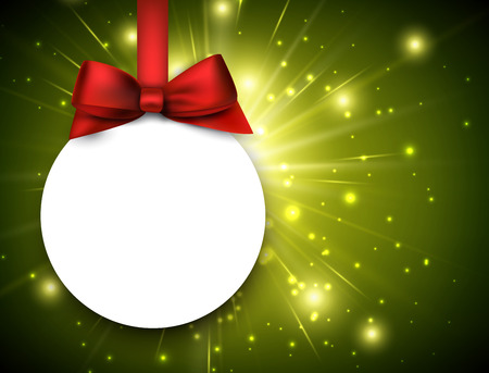 green frame: Christmas background with ball. Vector paper Illustration. Illustration