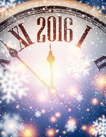 2016 Neues Jahr Hintergrund mit Uhr und Schneeflocken. Vektor-Illustration.