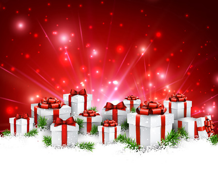 green and red: Christmas red background with gifts. Vector Illustration.