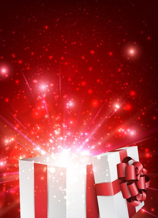 box open: Christmas red background with gift. Vector paper Illustration.