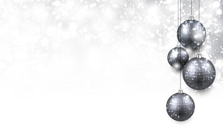 銀のボールでクリスマスの背景。ベクトルの図。