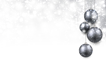silver ribbon: Christmas background with silver balls. Vector Illustration.