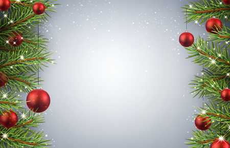 christmas decorations with white background: Christmas background with fir branches and red balls.
