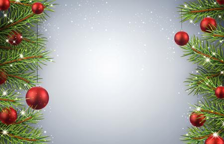 abetos: Fondo de Navidad con ramas de abeto y bolas rojas.
