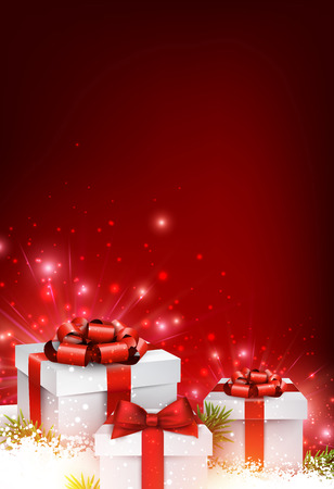 Christmas red background with gifts. Illustration