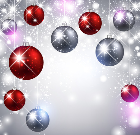 Christmas shining background with color balls. Illustration