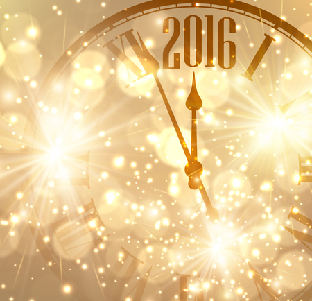 happy people white background: 2016 New Year shining background with clock.