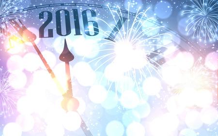 2016 Neues Jahr leuchtenden Hintergrund mit Uhr. Illustration