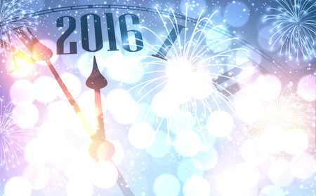 2016 New Year shining background with clock.