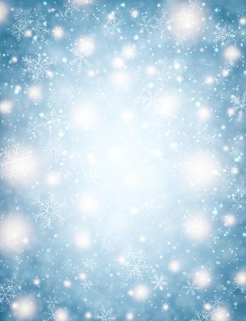 motivos navideños: Fondo del invierno con las luces y los copos de nieve