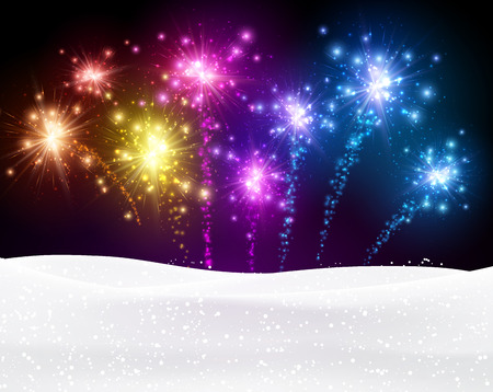 snow background: Festive xmas colour firework background.