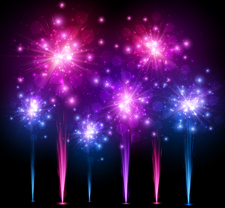 blue star: Festive colourful firework background. Illustration