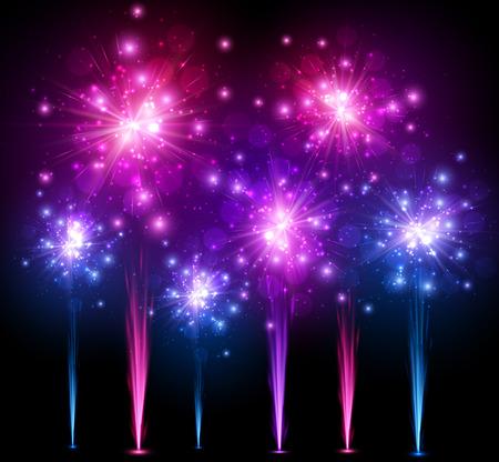star bright: Festivo fondo colorido de fuegos artificiales. Vectores