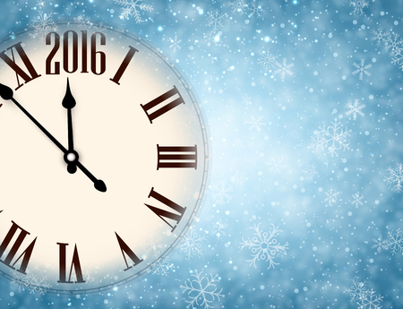 christmas party people: 2016 New Year background with clock and snowflakes.