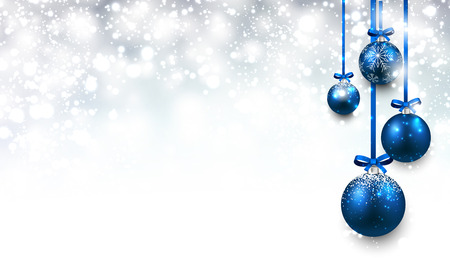 silver background: Christmas background with blue balls. Illustration