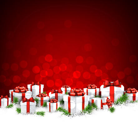 Christmas red background with gifts. Иллюстрация