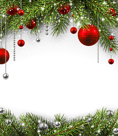 Christmas background with fir branches and balls. Vettoriali