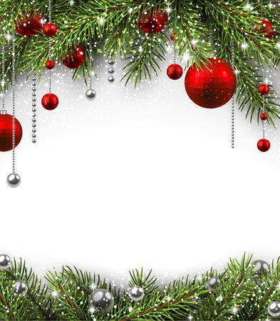 Weihnachten Hintergrund mit Tannenzweigen und Kugeln. Illustration