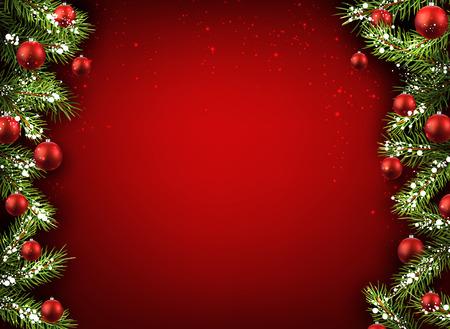 Weihnachts-rotem Hintergrund mit Tannenzweigen und Kugeln.
