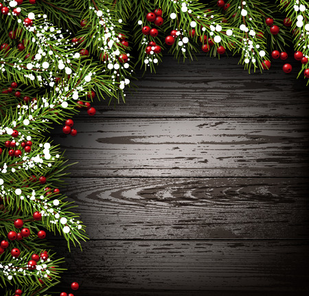 felicitation: Winter wooden background with fir branches. Illustration