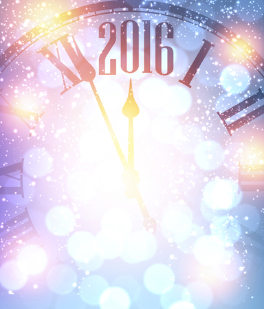 purple: 2016 New Year shining background with clock. Vector illustration.