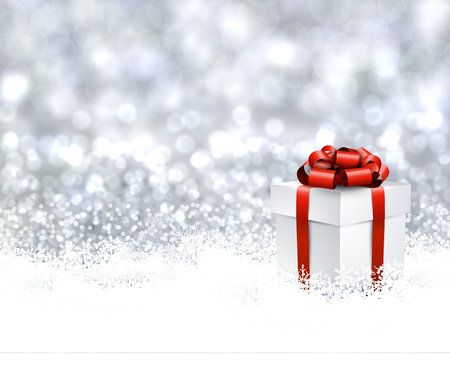 white bow: Christmas background with gift. Illustration