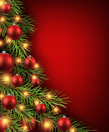 Christmas red background with christmas tree.